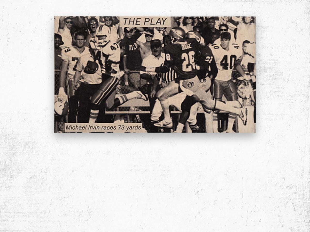 1987 Michael Irvin Miami Football Art Wood print