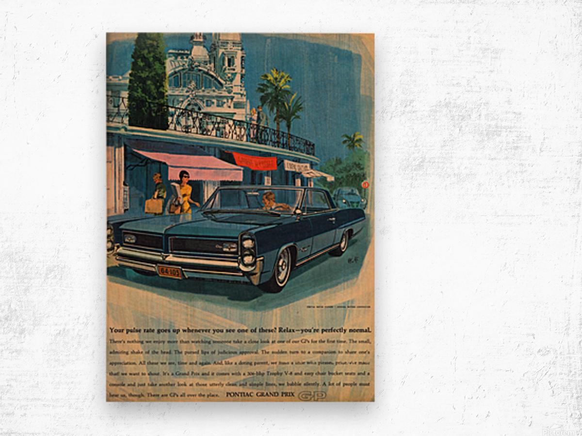 1964 Pontiac Grand Prix Car Advertisement Wood print
