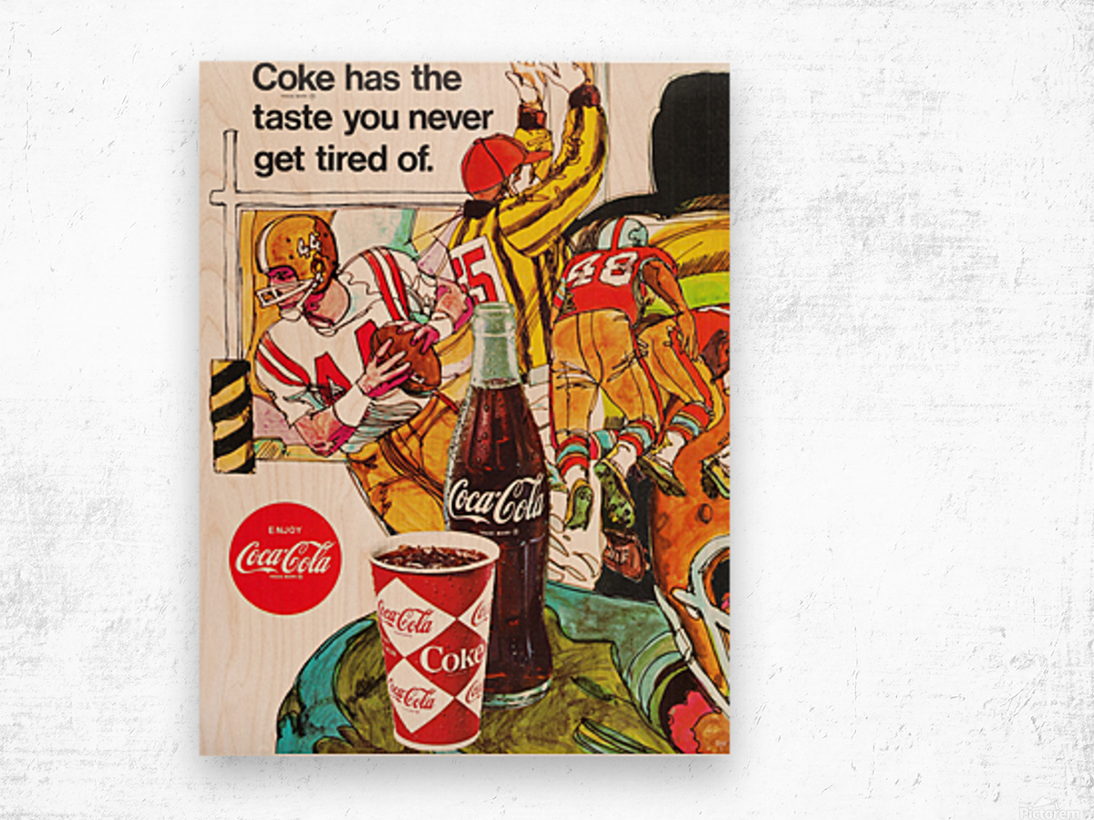 1969 Coke Football Ad Poster Wood print
