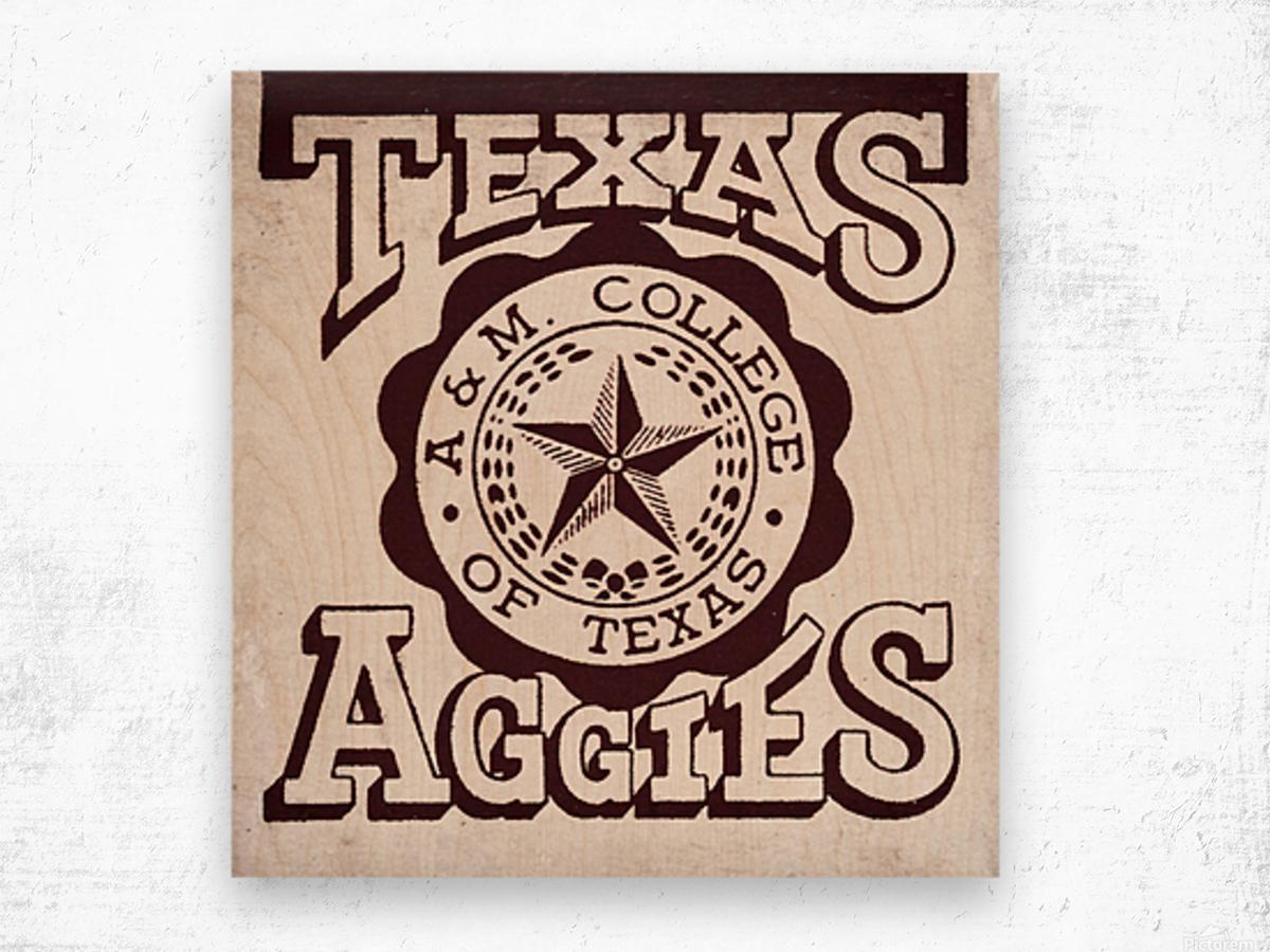 Vintage Texas Aggies Art Wood print