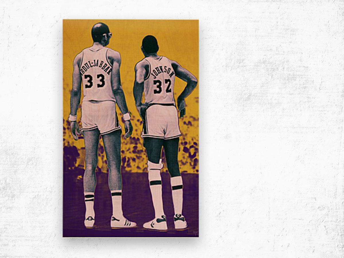 1984 Magic Johnson Kareem Remix Art Wood print