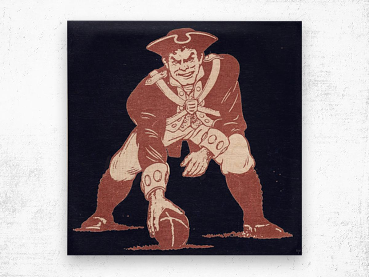 1976 New England Patriots Vintage Art Wood print