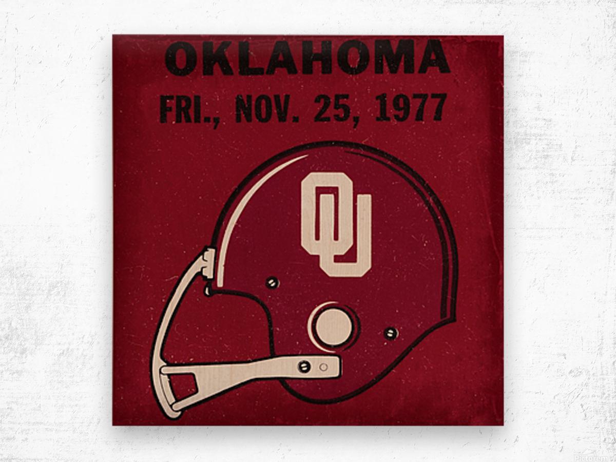 1977 Oklahoma Football Ticket Remix Row 1 Wood print