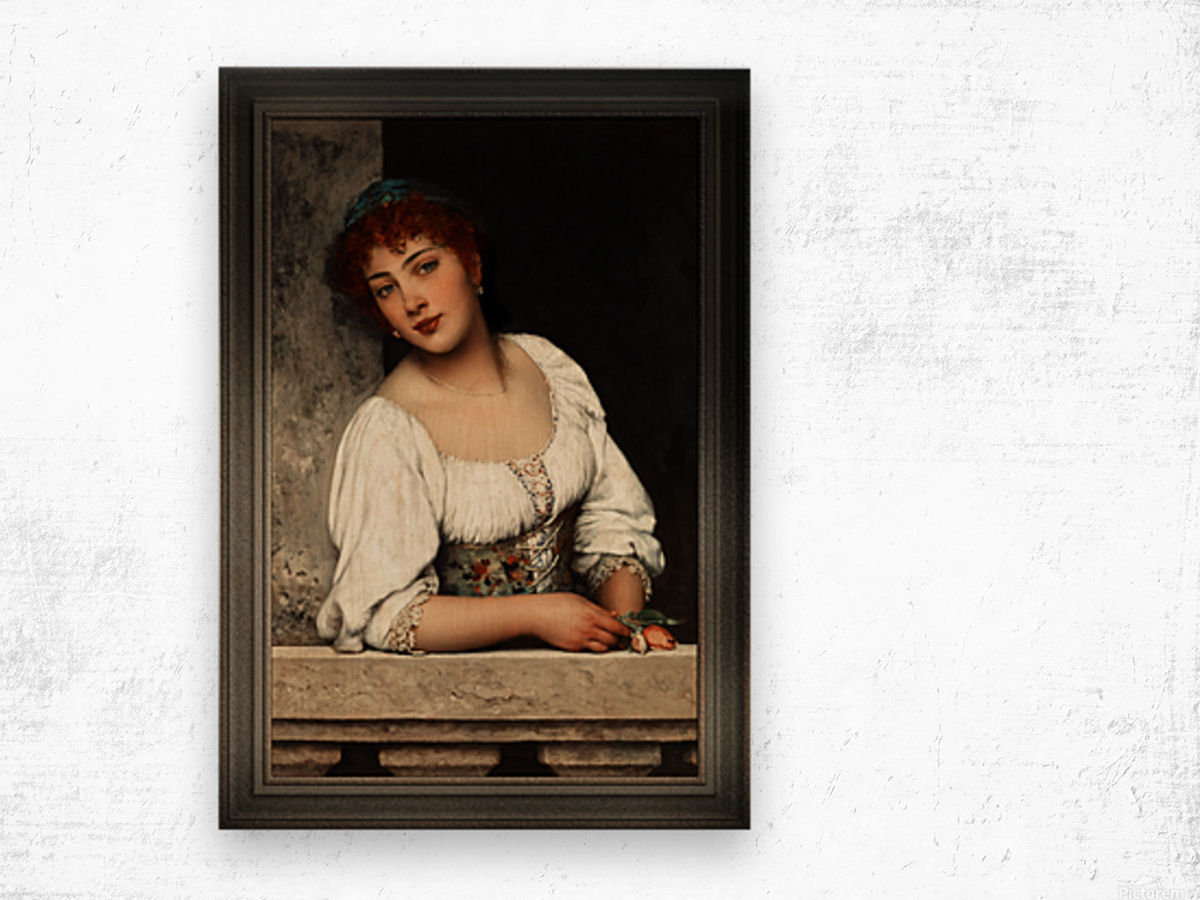 Girl At The Window by Eugen von Blaas Classical Art Xzendor7 Old Masters Reproductions Wood print