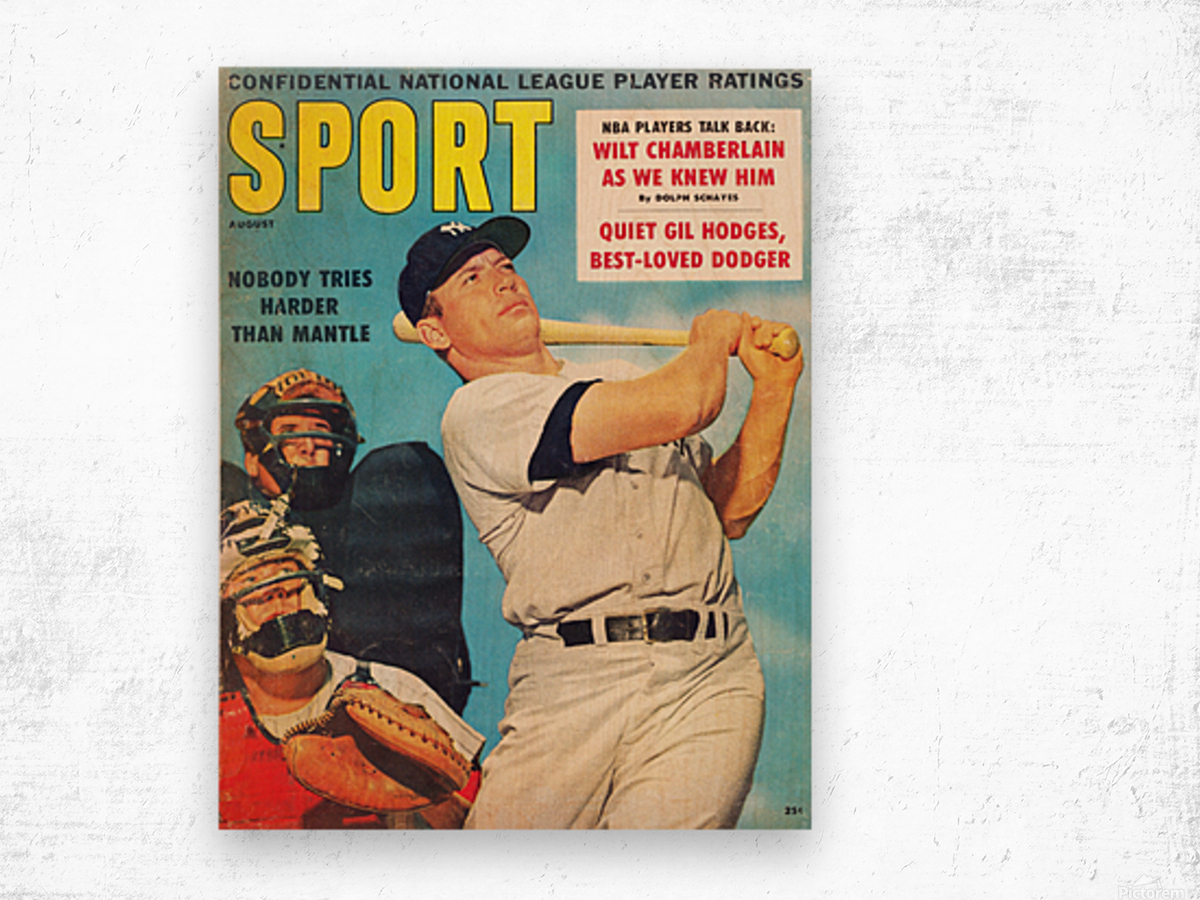 1960 Mickey Mantle Sport Cover Art Wood print