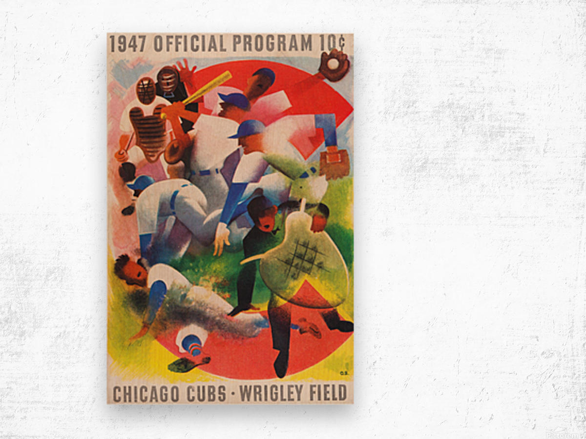 1947 Chicago Cubs Program Otis Shepard Art Wood print