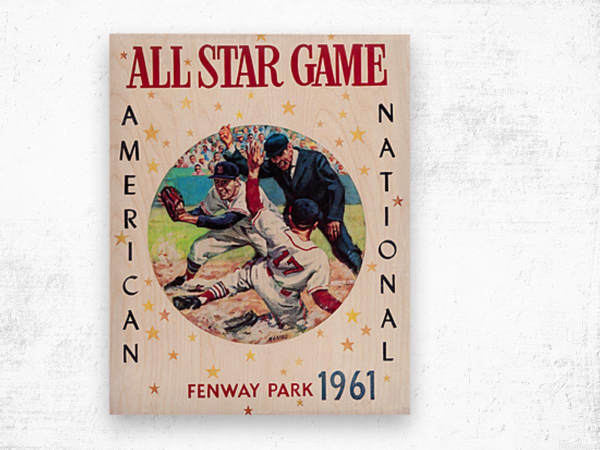 1961 Boston All-Star Game Baseball Program Art Wood print