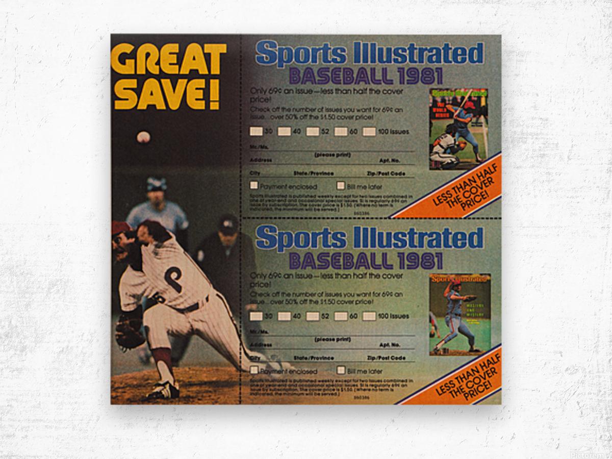 1981 Sports Illustrated Baseball Ad Poster Wood print