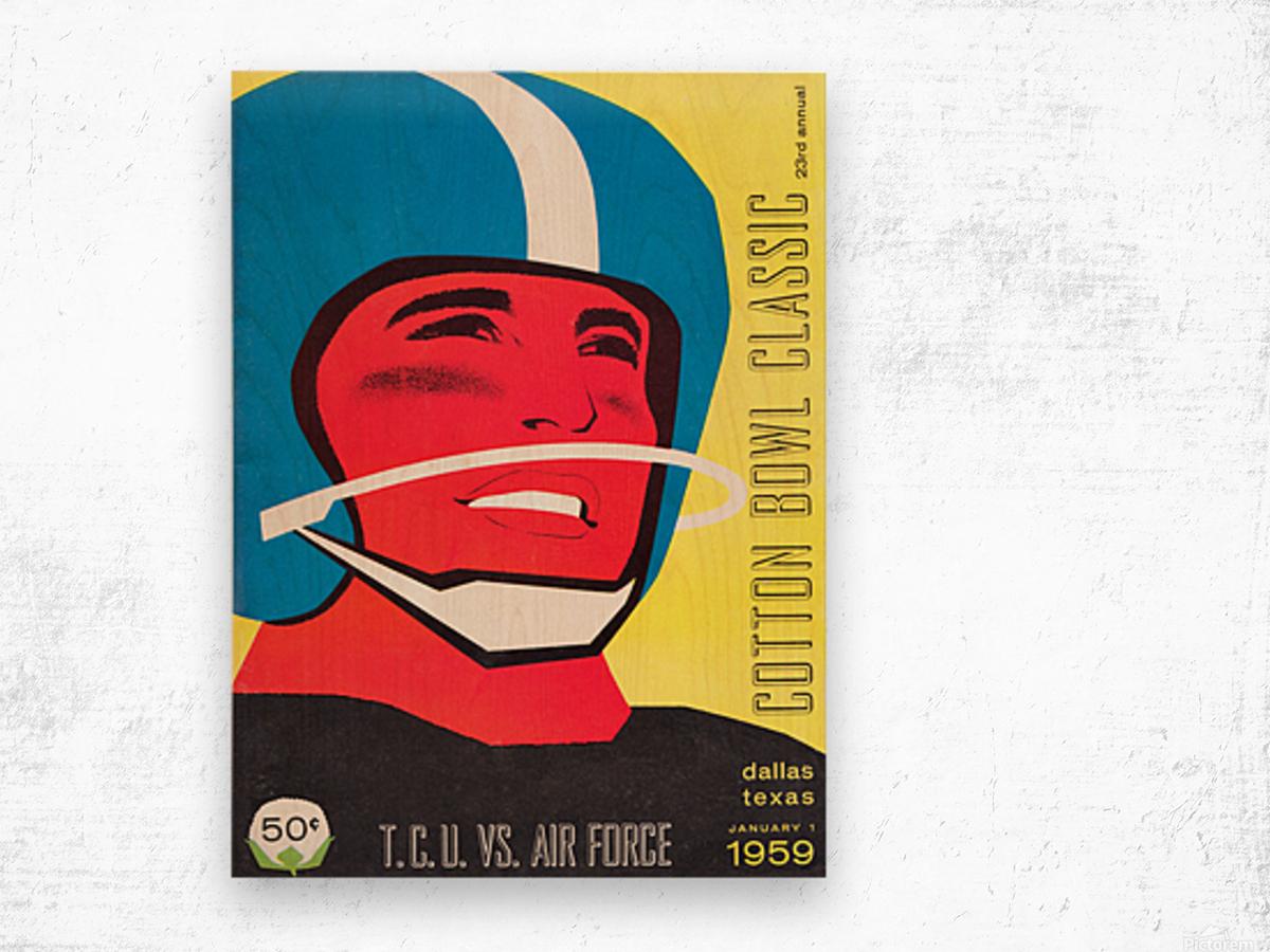 1959 TCU vs. Air Force Football Program Cover Art Wood print