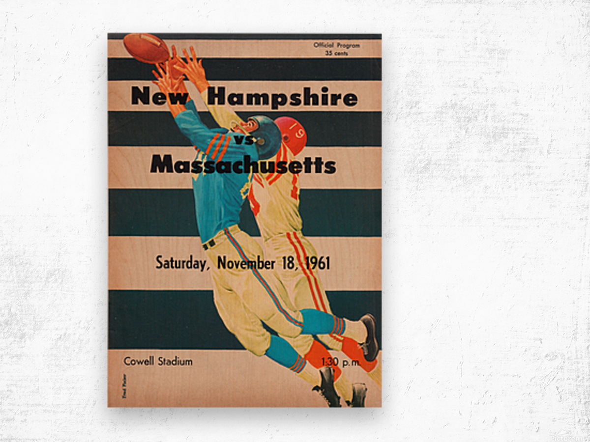 1961 Massachusetts vs. New Hampshire Wildcats Wood print