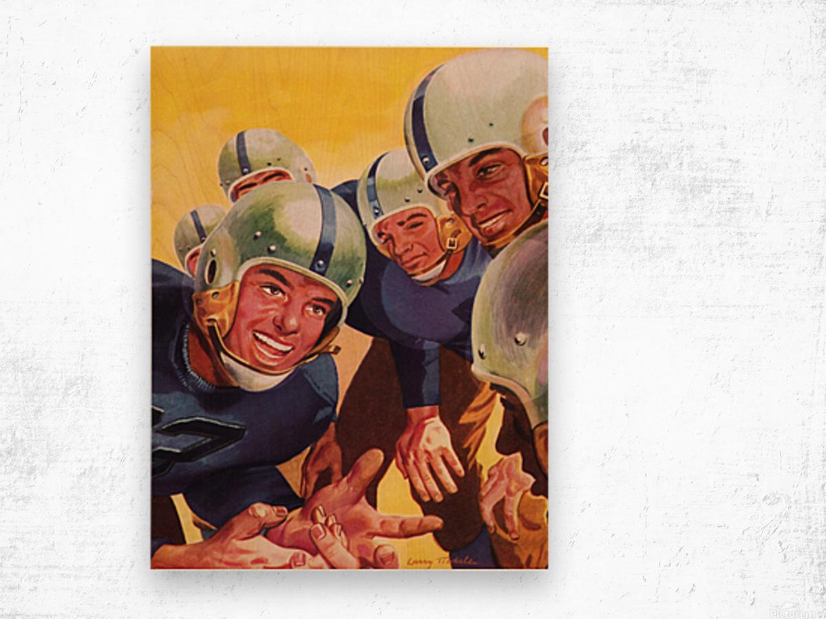 1947 Vintage Football Art Inside the Huddle Wood print