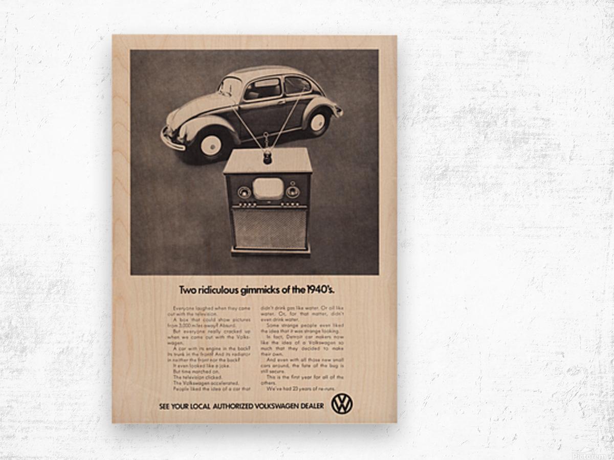 1971 Vintage Volkswagen Car Ad Poster Wood print