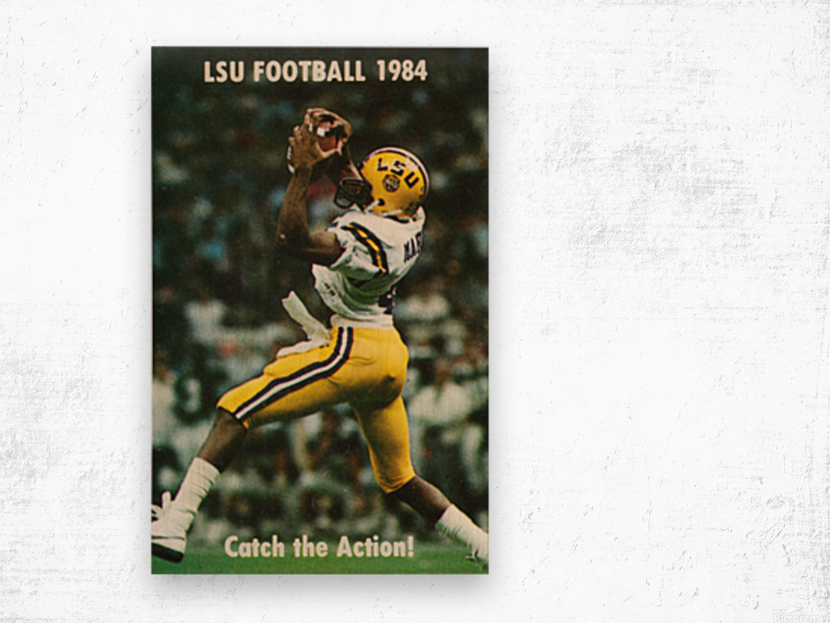 1984 LSU Tigers Football Catch The Action Wood print