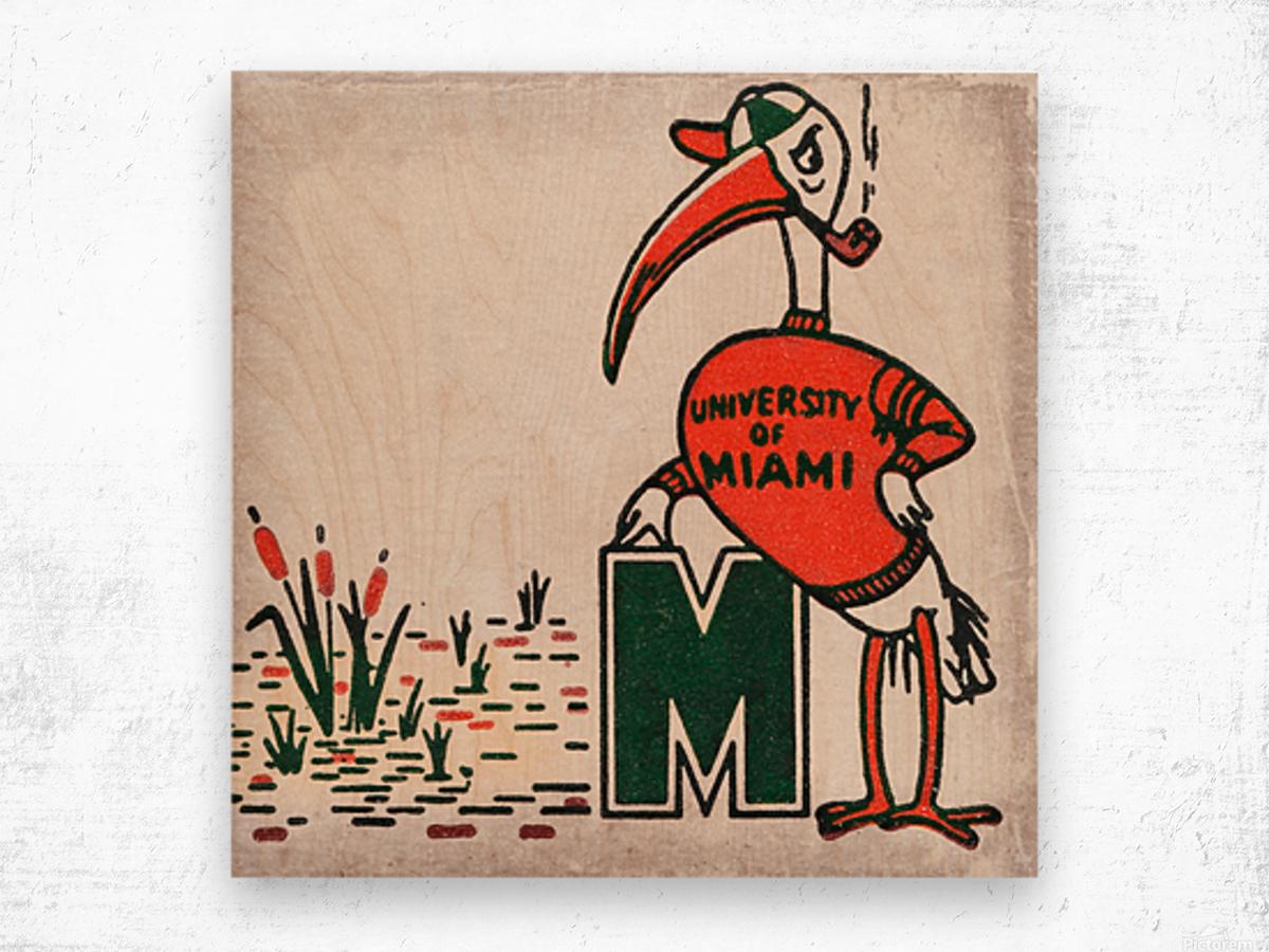 Vintage Fifties Miami Hurricane Art Wood print