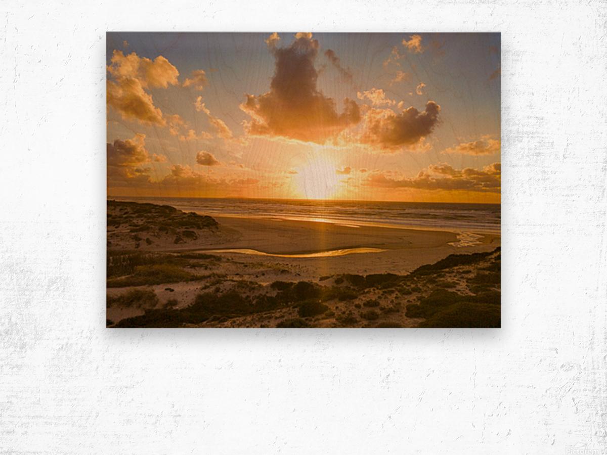 Atlantic Sunset over Praia Del Rey - Portugal Wood print