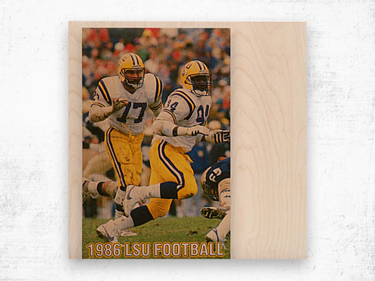 1986 LSU Retro Football Poster  Wood print
