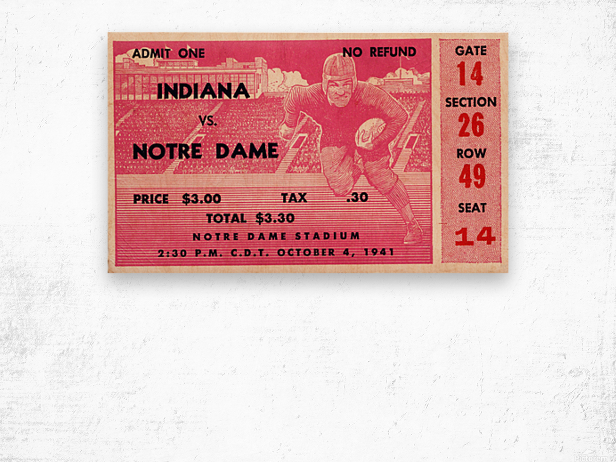 1941 Indiana vs. Notre Dame Football Ticket Canvas Wood print