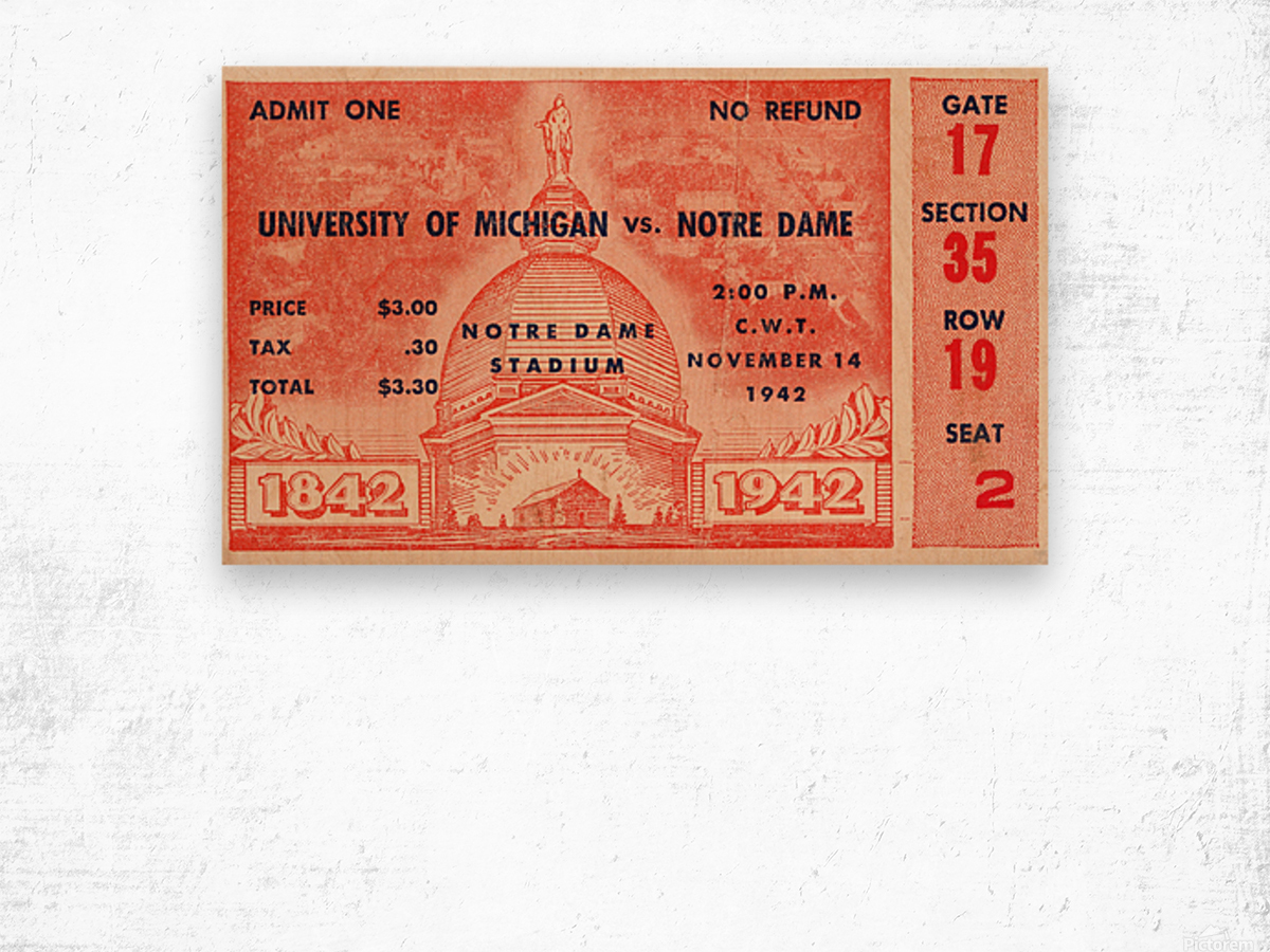1942 Michigan vs. Notre Dame Football Ticket Stub Art Wood print