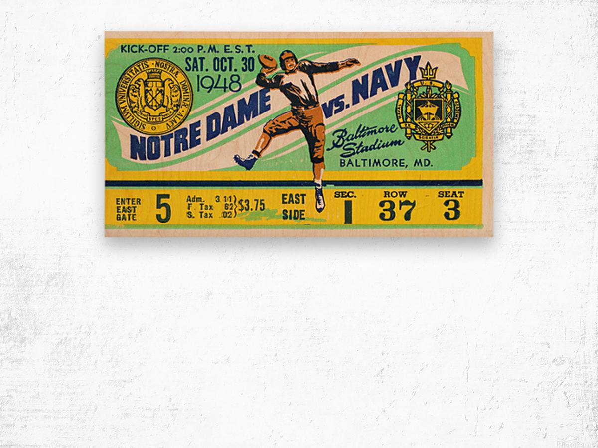1948 Navy vs. Notre Dame Football Ticket Art Wood print