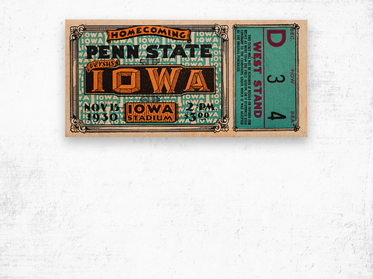 1930 Iowa vs. Penn State Wood print