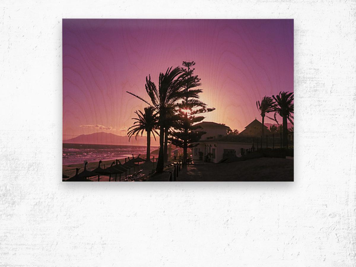 Sunset Costa Del Sol Spain Wood print