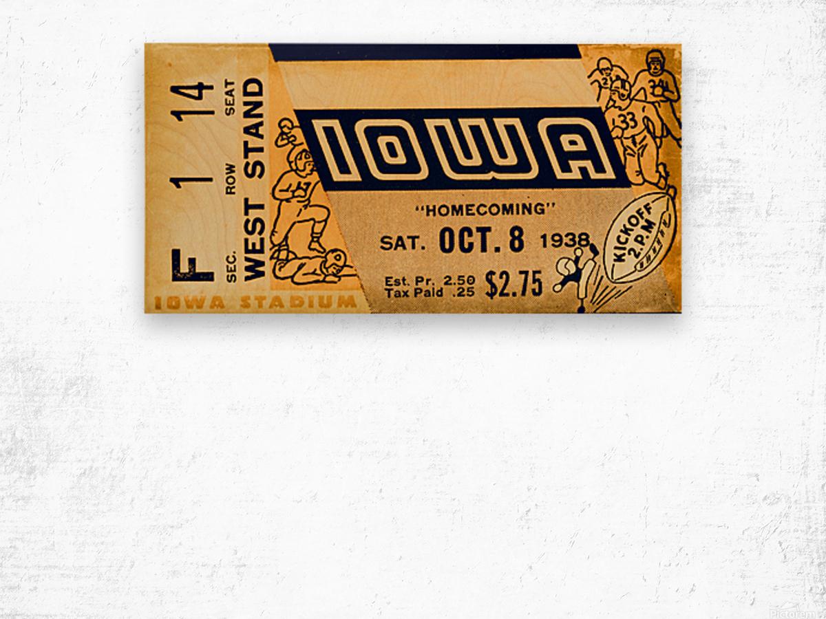 1938 Iowa Hawkeyes Football Ticket Remix Art Wood print