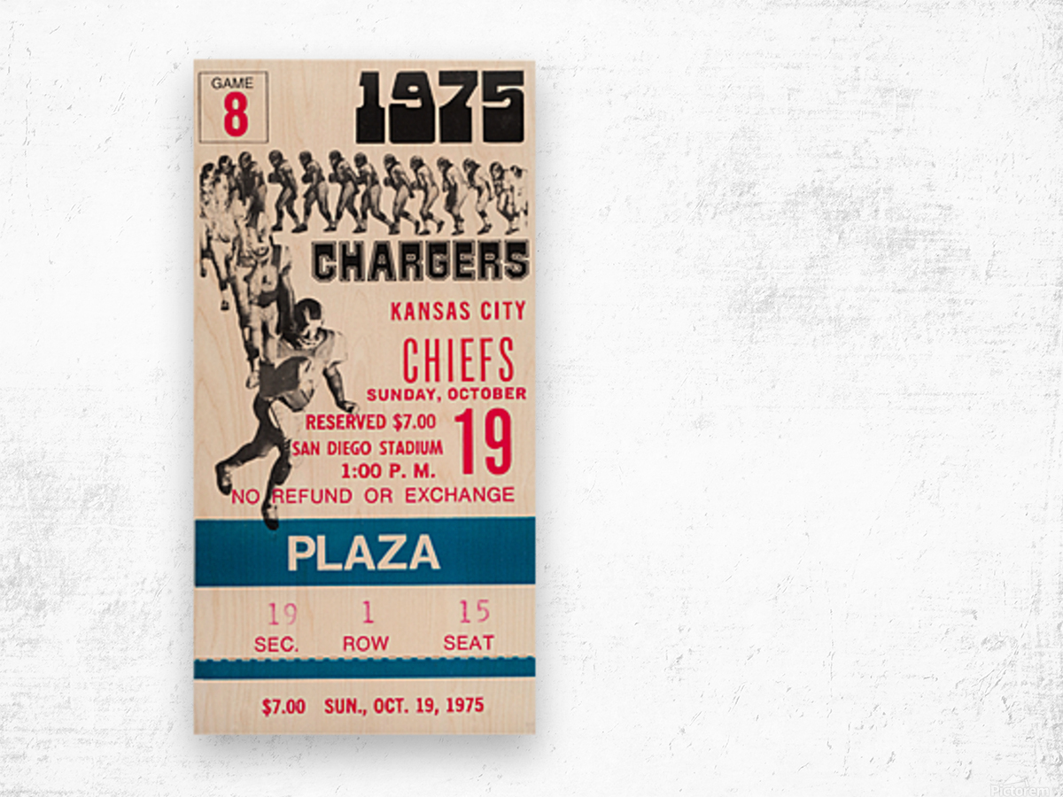 1975 San Diego Chargers Ticket Canvas Wood print