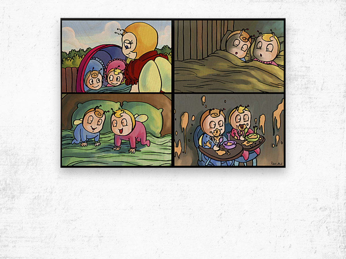 Mom and the Twins - 4 panel Favorites for Kids Room and Nursery - Bugville Critters Wood print