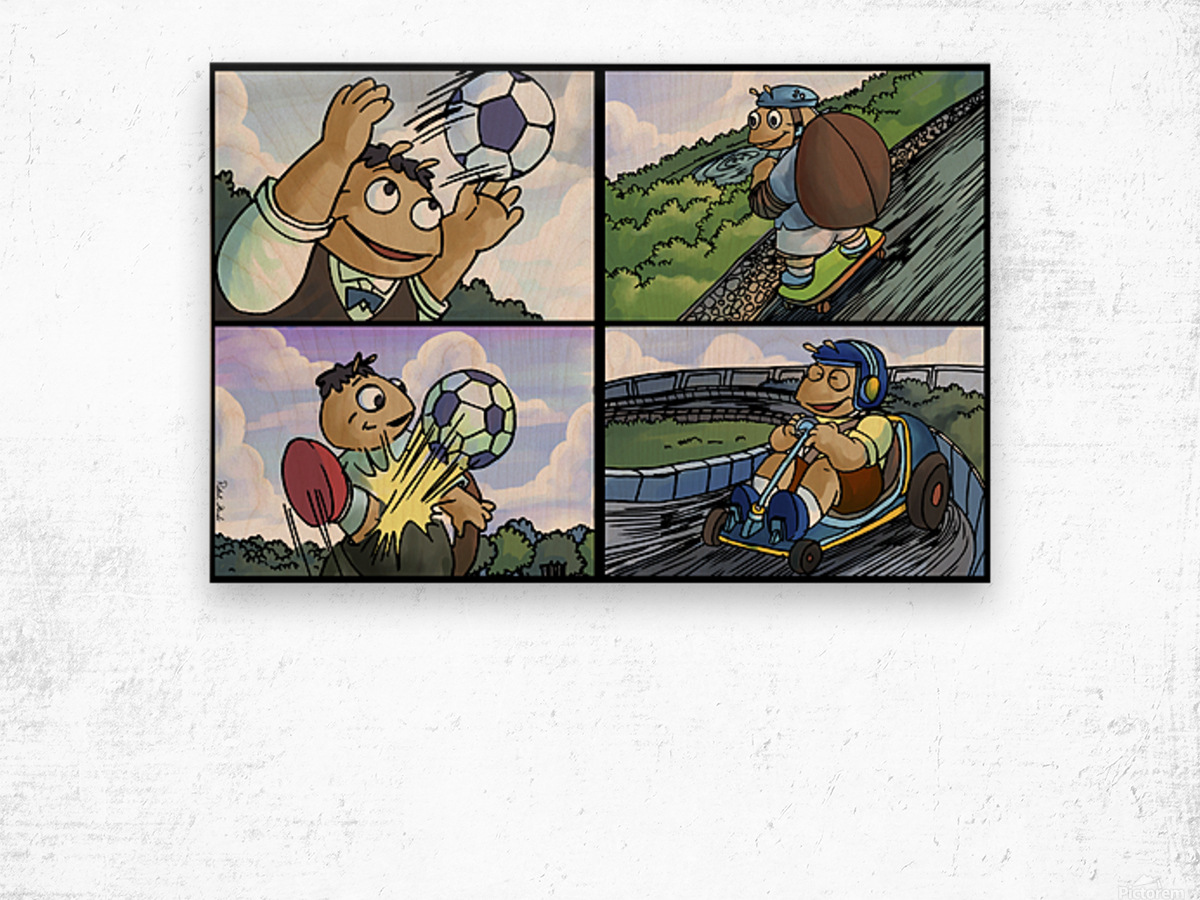 Barry the Beetle in Action   4 panel Favorites for Kids Room and Nursery   Bugville Critters Wood print