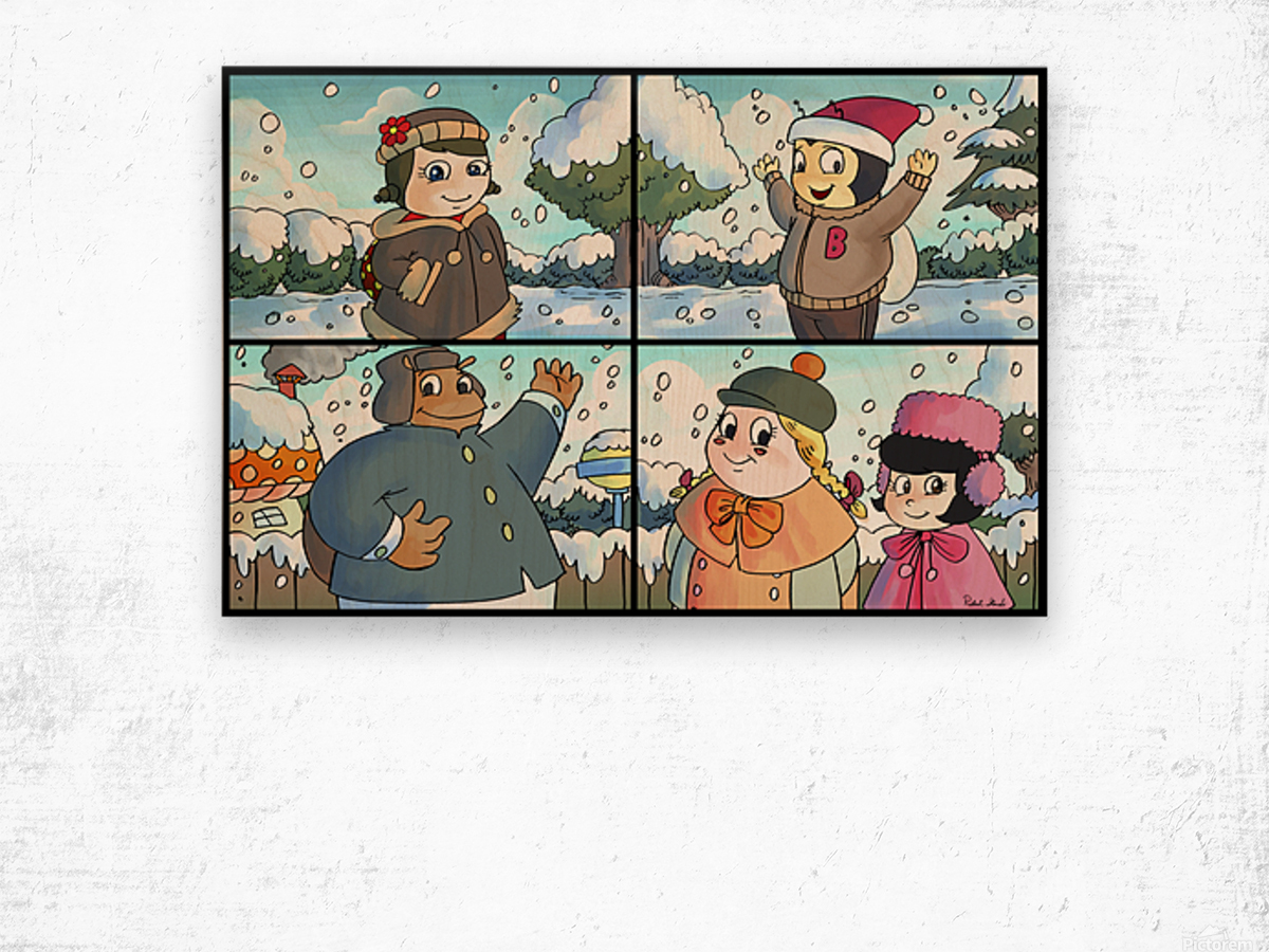 Winter Wonderland Fun   Playing in the Snow   4 panel Favorites for Kids Room and Nursery   Bugville Critters Wood print