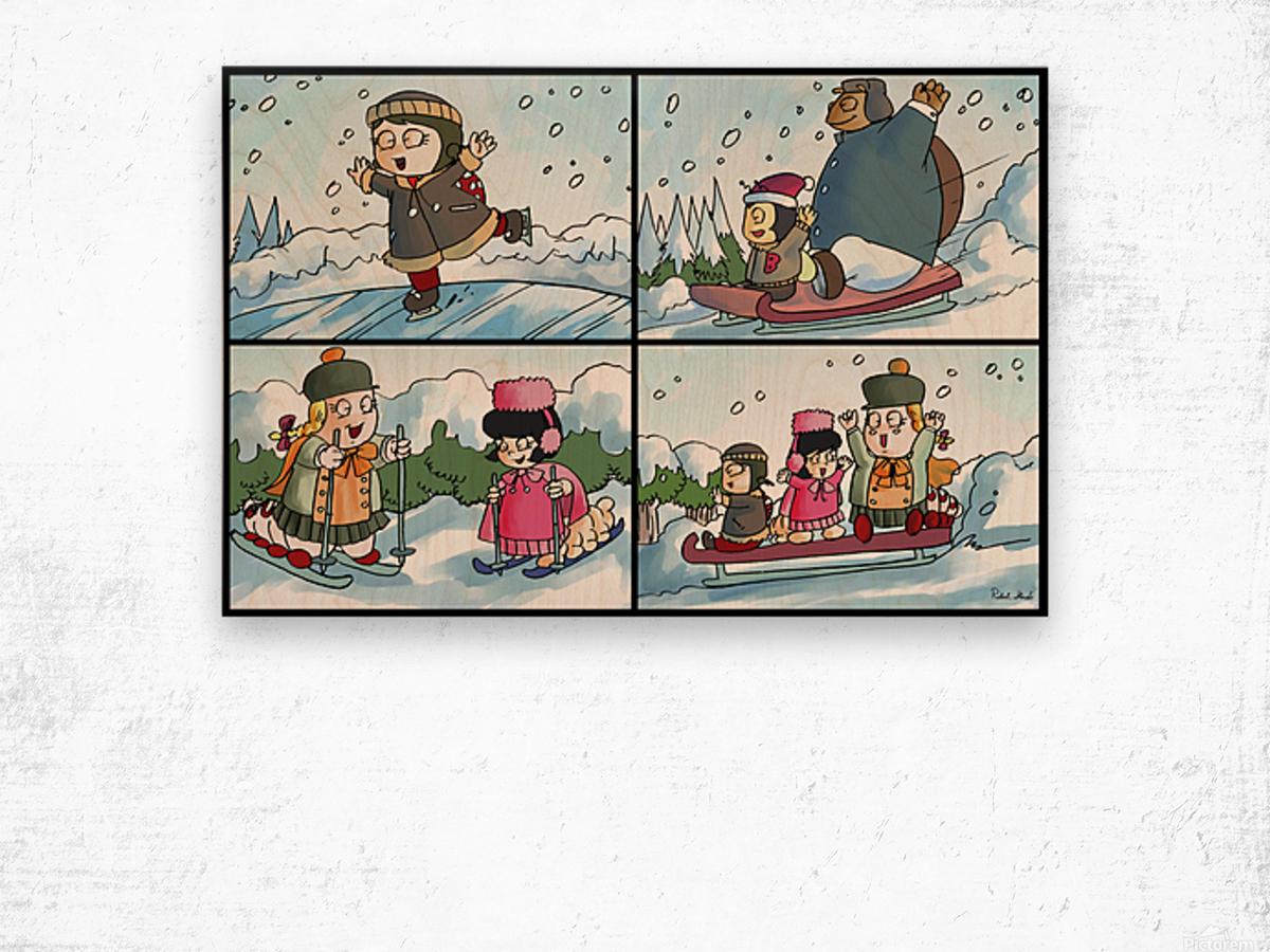 Winter Wonderland Fun   Ice Skating  Sledding and Tobogganing   4 panel Favorites for Kids Room and Nursery   Bugville Critters Wood print