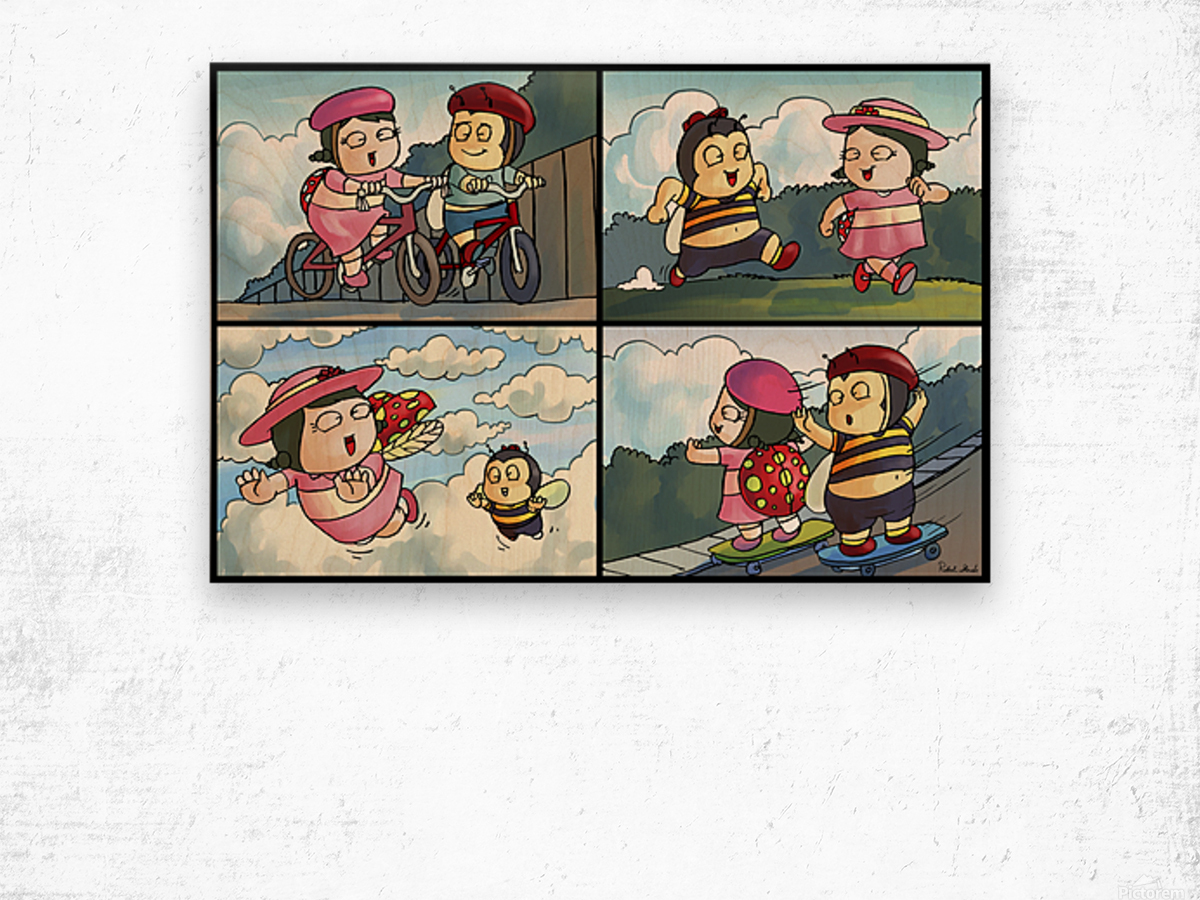 Best Friends at Play   4 panel Favorites for Kids Room and Nursery   Bugville Critters Wood print