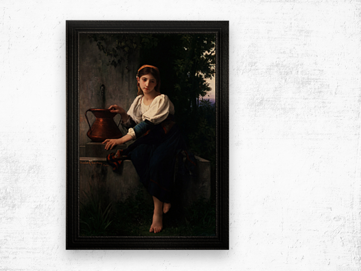 Young Girl Gathering Water At The Fountain by Elizabeth Gardner Classical Fine Art Xzendor7 Old Masters Reproductions Wood print