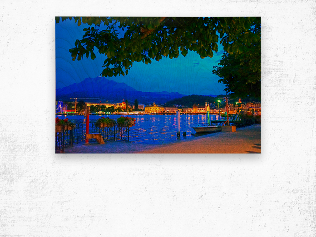 City Lights over Lake Lucerne Switzerland Wood print
