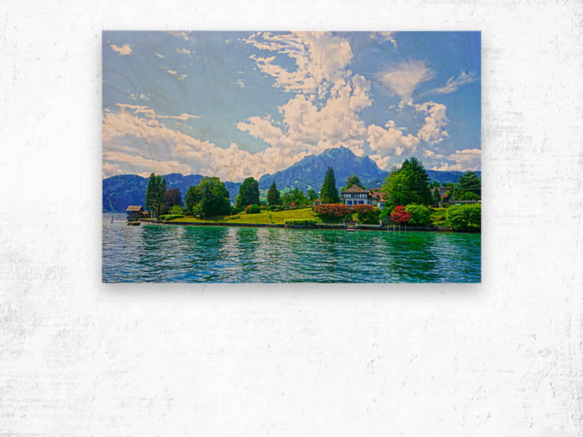 Perfect Day on the shores of Lake Lucerne Switzerland Wood print