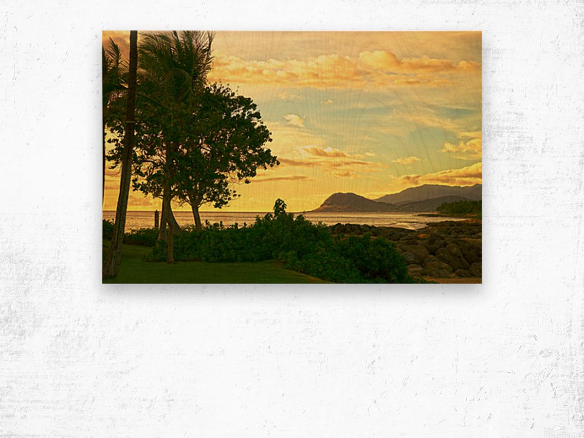 Sunset over the Bay Oahu Hawaii Wood print
