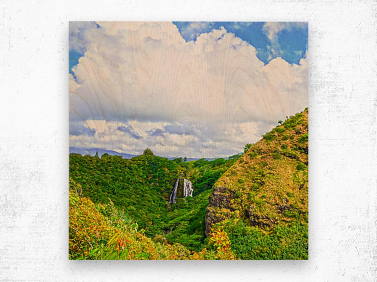 The Falls at the Mountain Overlook on Kauai Square Wood print
