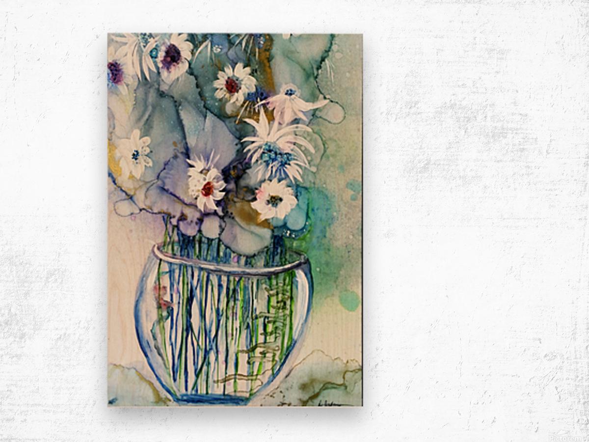 Blue Floral Wood print