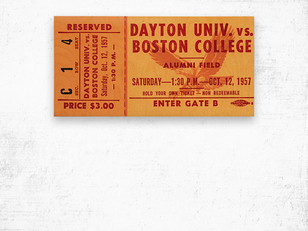1957 Dayton Flyers vs. Boston College Eagles Wood print