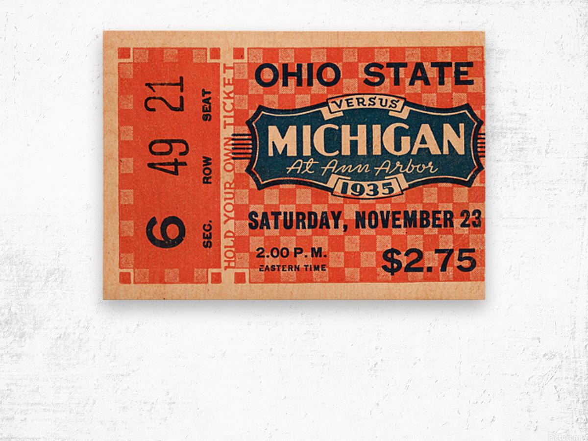 1935 Michigan Wolverines vs. Ohio State Buckeyes Ticket Art Wood print