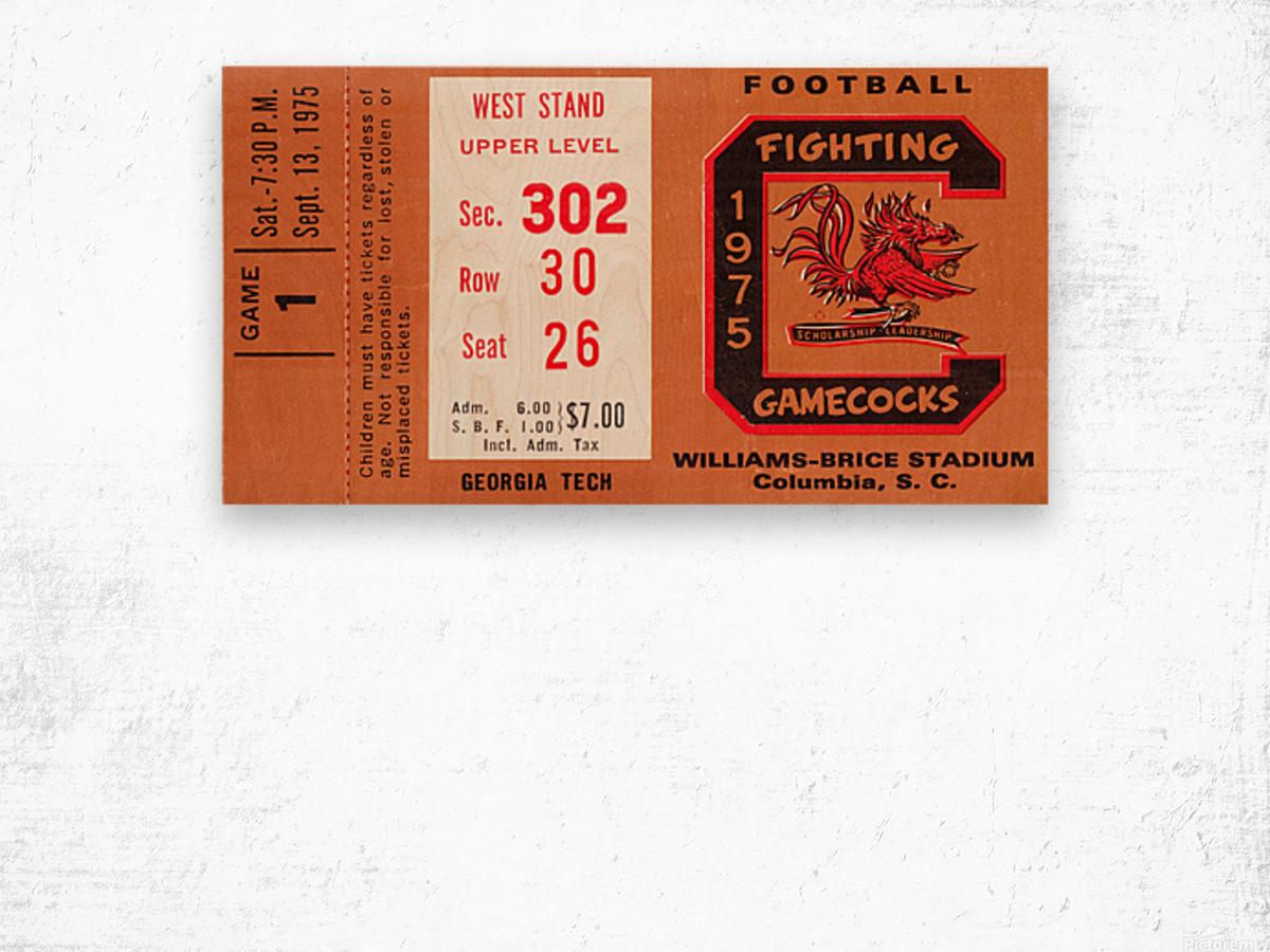 1975 South Carolina Gamecocks vs. Georgia Tech Wood print