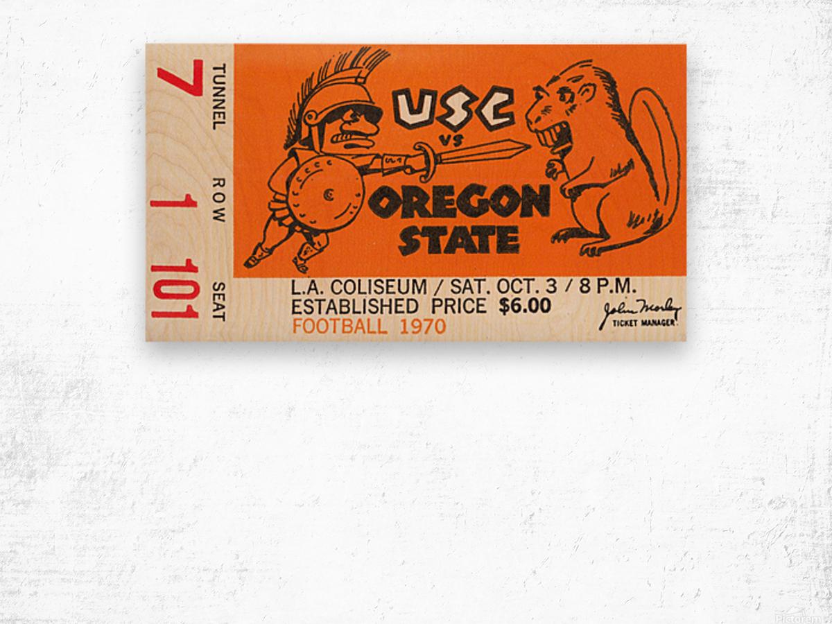 1970 USC Trojans vs. Oregon State Beavers Wood print