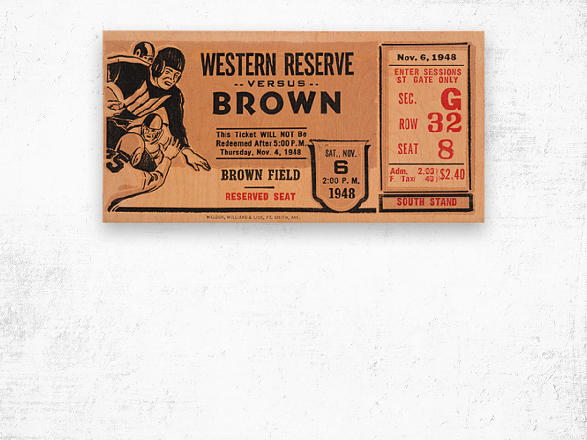 1948 Western Reserve Red Cats vs. Brown Bears Wood print