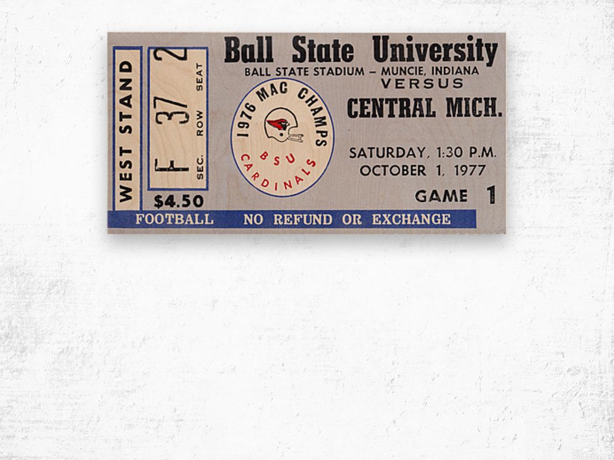 1977 Ball State Cardinals vs. Central Michigan Chippewas Wood print