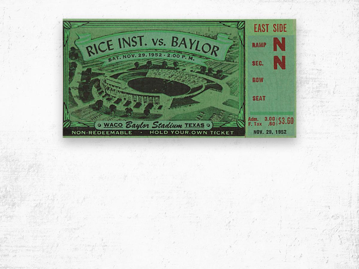 1952 Rice Owls vs. Baylor Bears Wood print