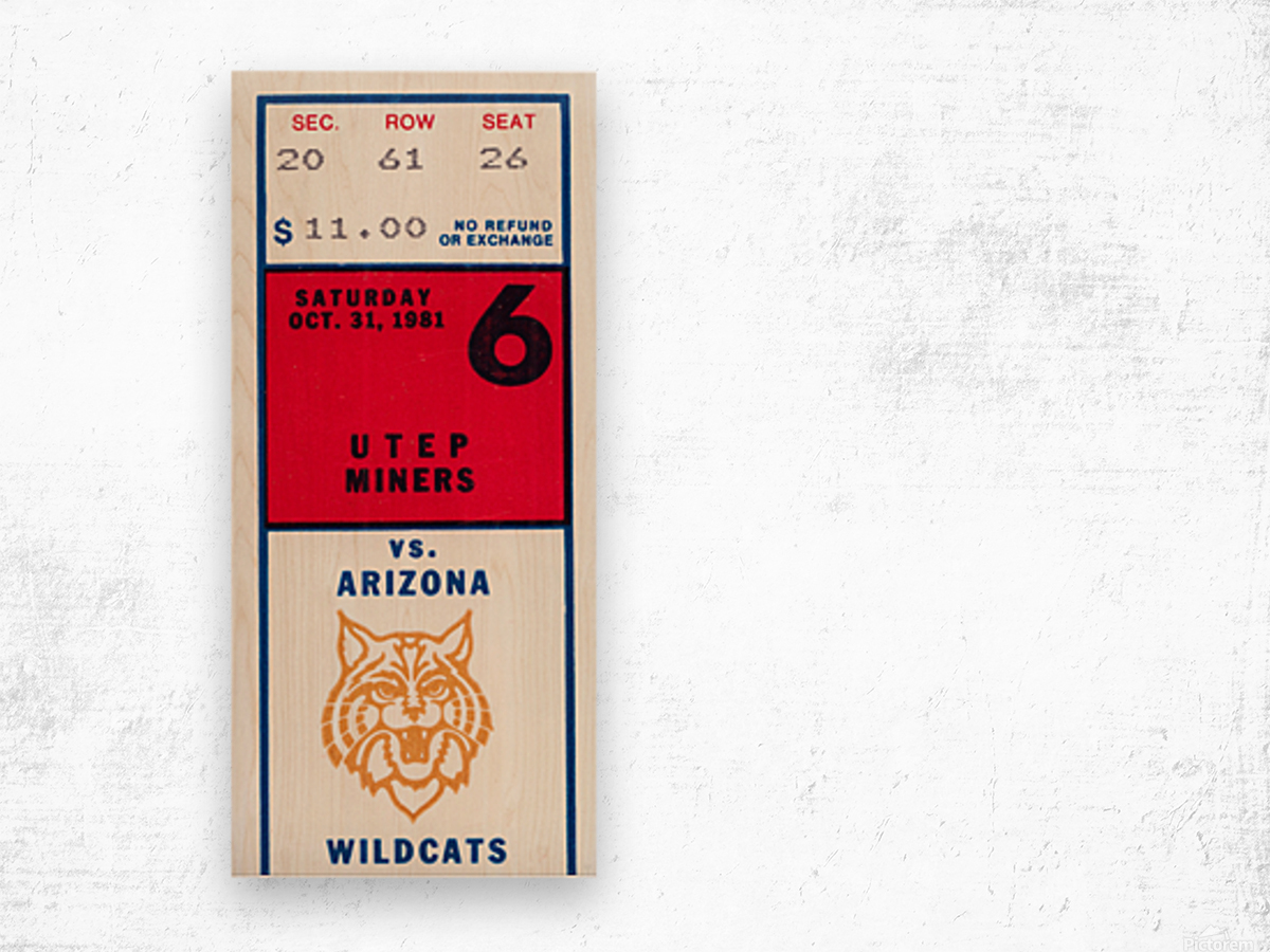 1981 Arizona Wildcats vs. UTEP Miners Wood print