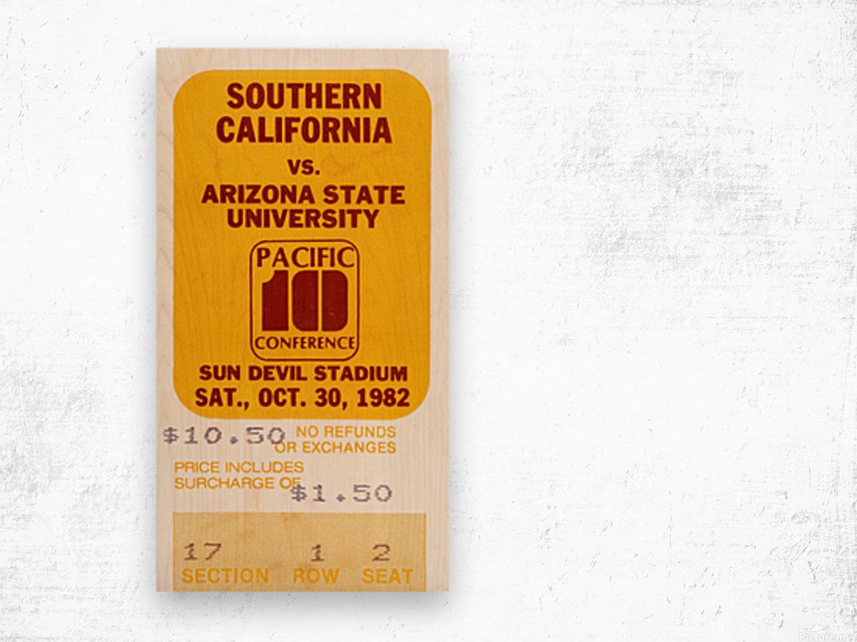1982 USC vs. Arizona State Football Ticket Art Wood print
