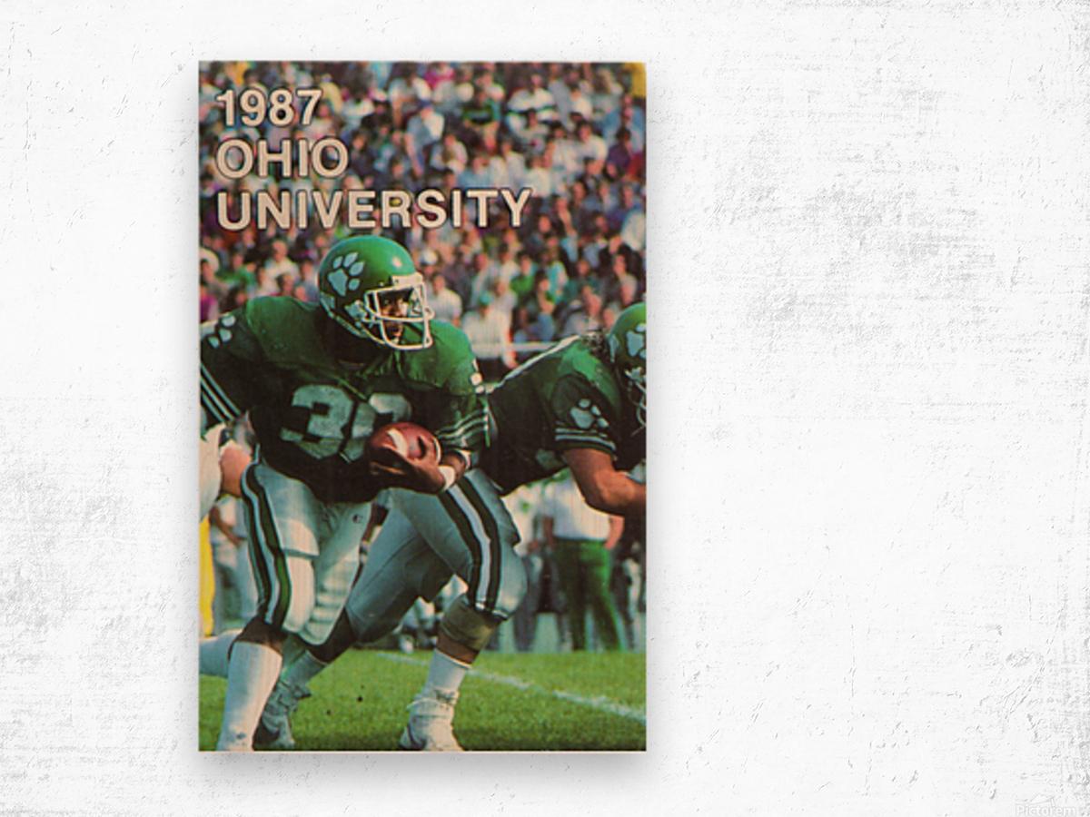1987 Ohio Bobcats Retro Football Poster Wood print