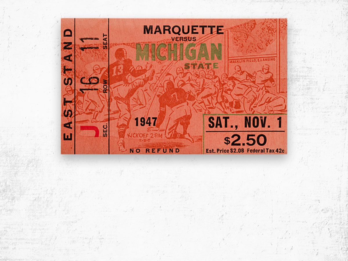 1947 Michigan State Spartans vs. Marquette Hilltoppers  Wood print