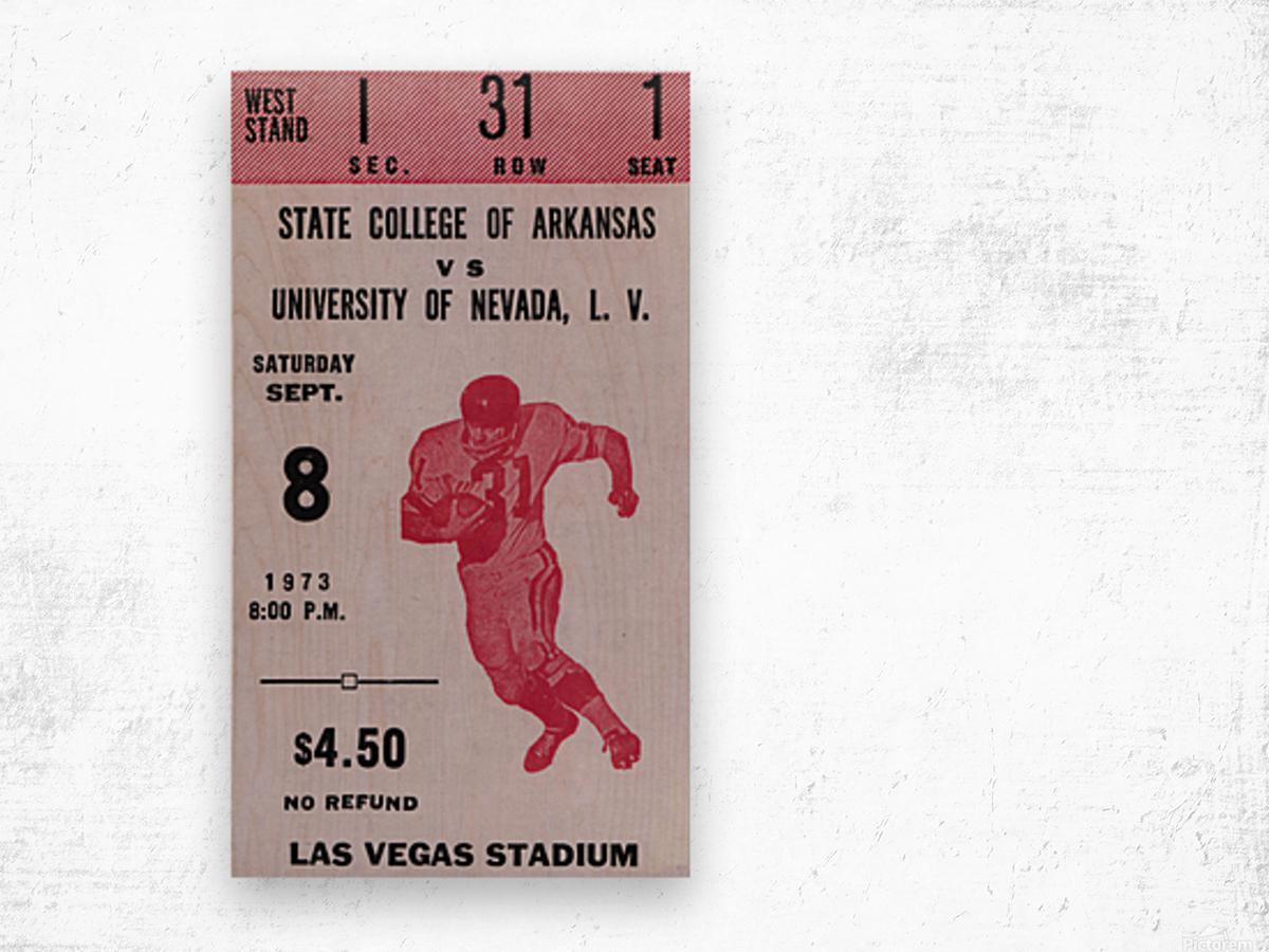 1973 UNLV Rebels vs. Central Arkansas Bears Football Ticket Art Wood print